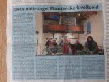 Artikel Texelse Courant orgelrestauratie voltooid