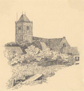 Pentekening De Maartenskerk door R. Dekker